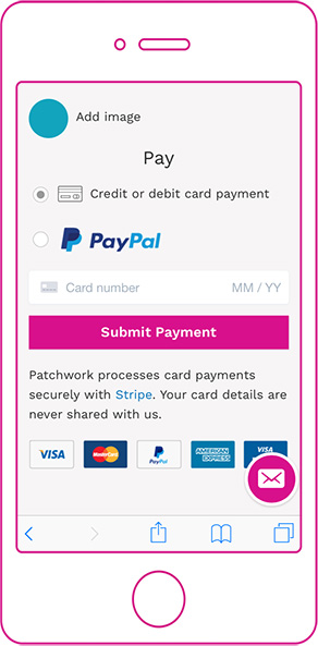 Contributing to a patchwork with PayPal or Stripe