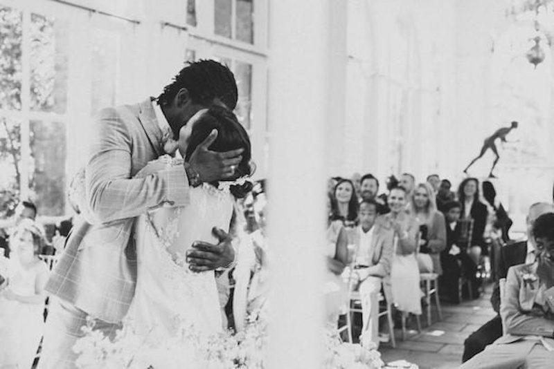 Jason Jennings wedding dress patchwork couple