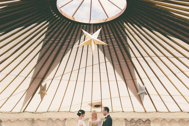 couple on wedding day standing under star
