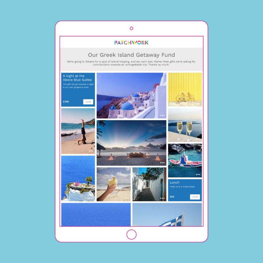 Greek Island Patchwork honeymoon fund