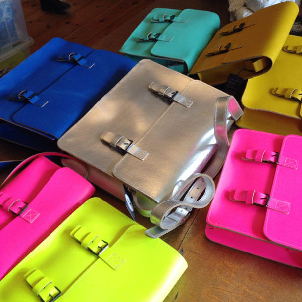 bright colourful satchels