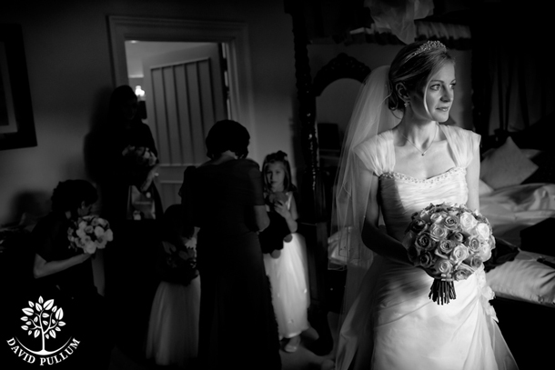 black and white photo of bride looking left