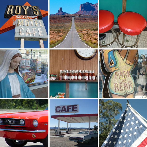 honeymoon road trip on Route 66 patchwork