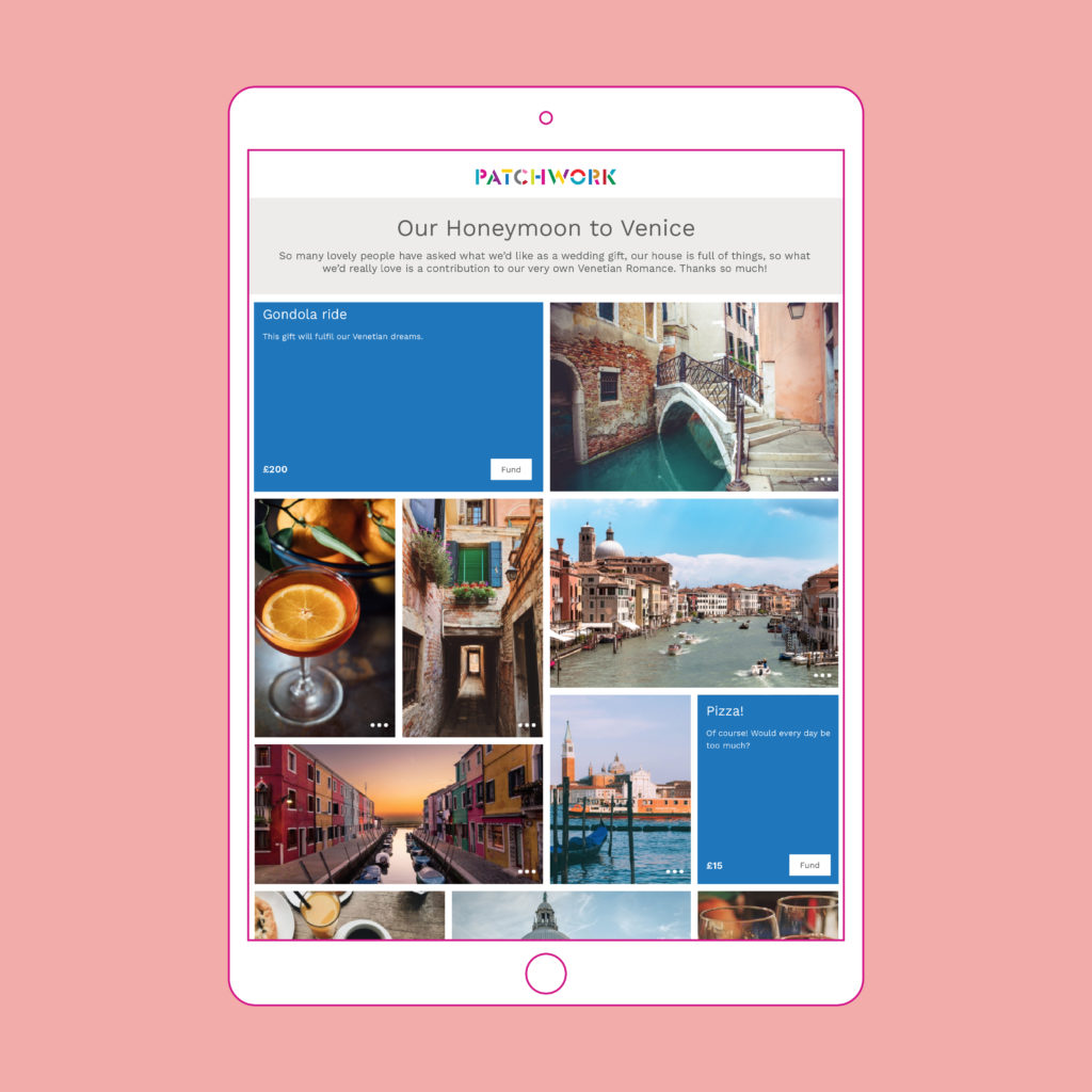 Patchwork Honeymoon Fund to Venice in iPad