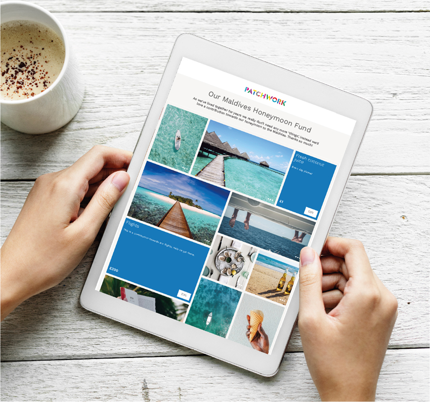 Patchwork honeymoon fund on an iPad