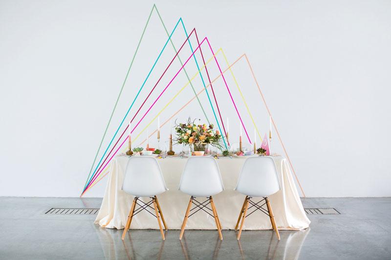 wasabi tape geometric backdrop creative wedding decoration ideas patchwork