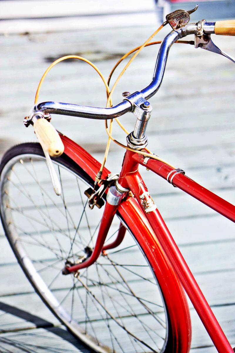 children's red bike Christmas gift patchwork