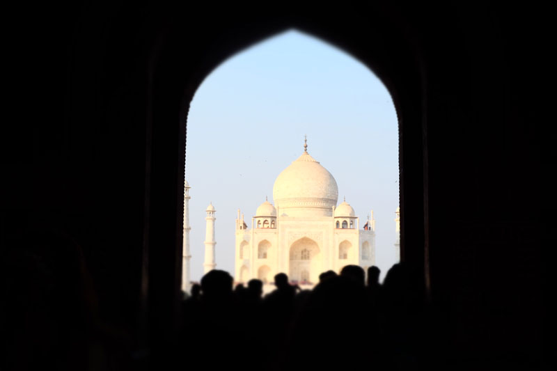view through archway of Taj Mahal India