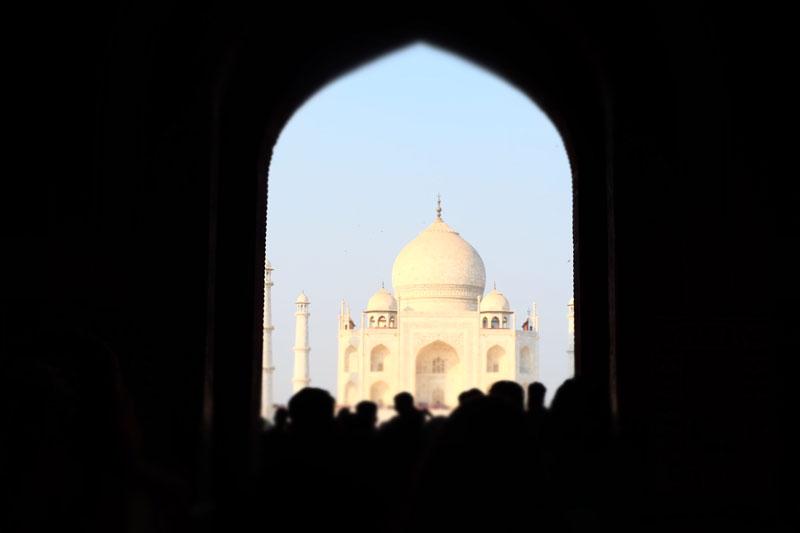view through archway of Taj Mahal India