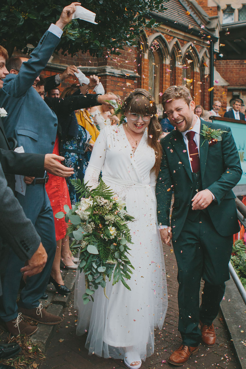 Patchwork couple intimate London wedding