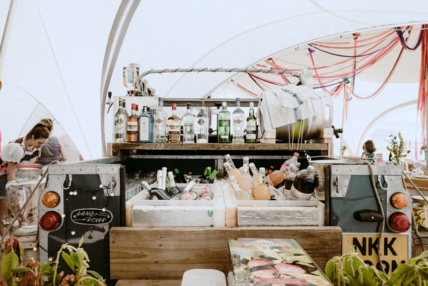 wedding bar in back of a land rover