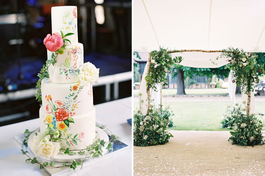 wedding-cake-and-floral-arch