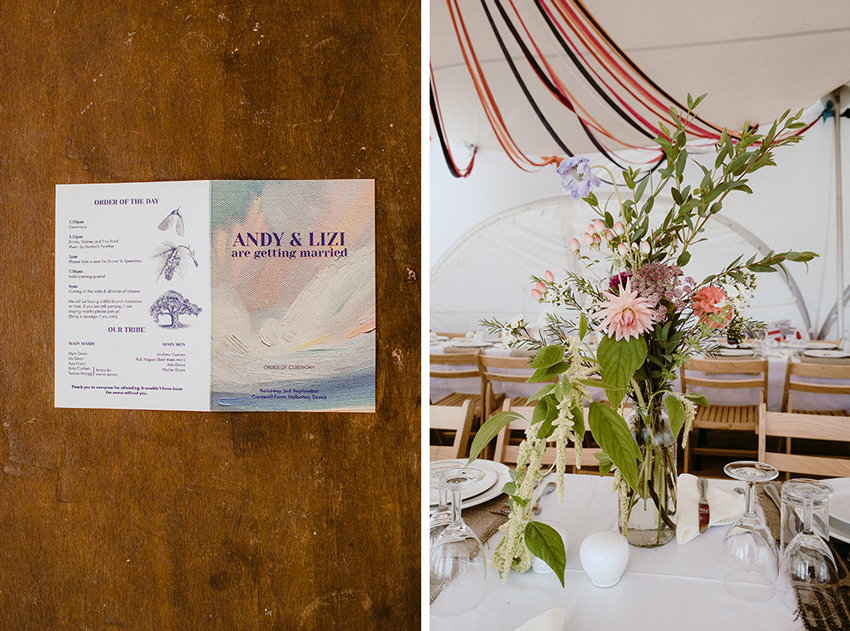wedding invitation and floral arrangement on table