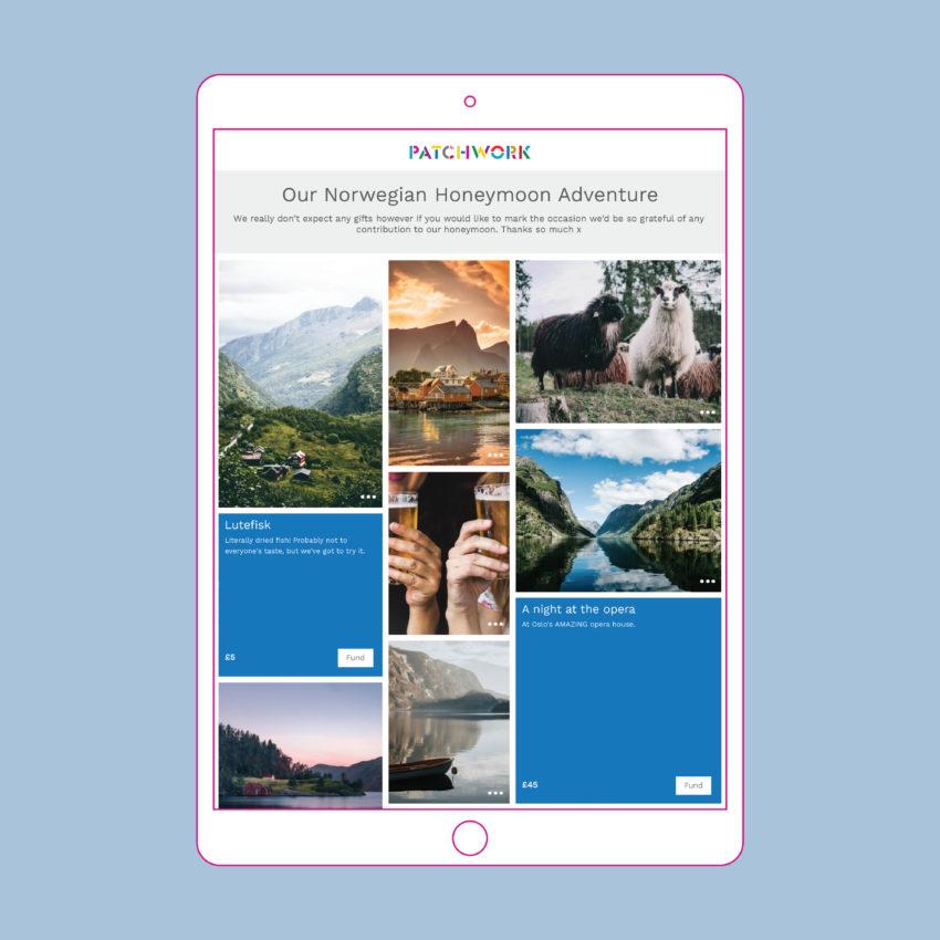 Norway Patchwork honeymoon adventure fund in iPad