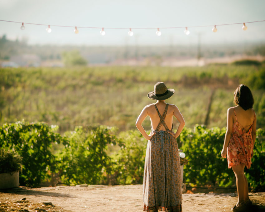 two women standing in front of vineyards
