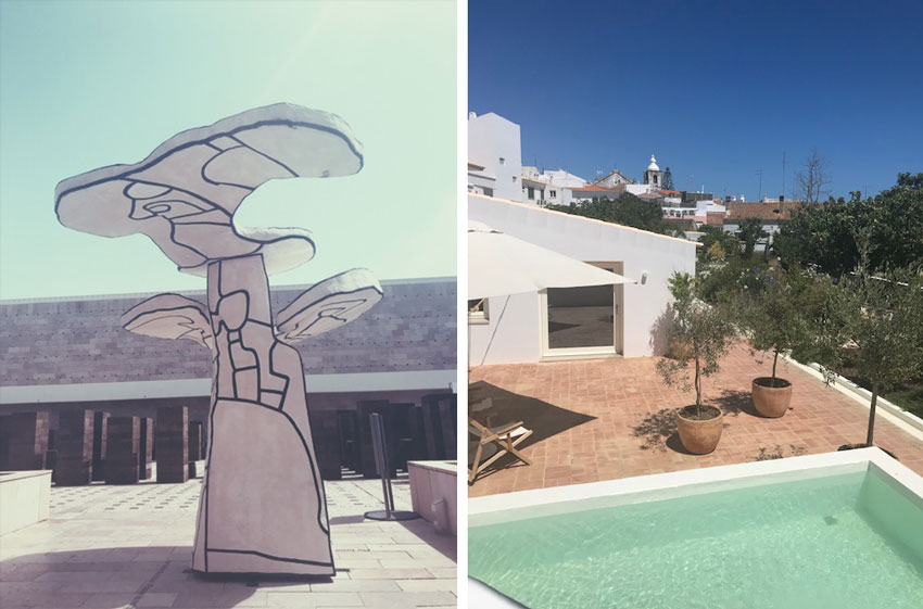 diptych of scenes from Portugal honeymoon