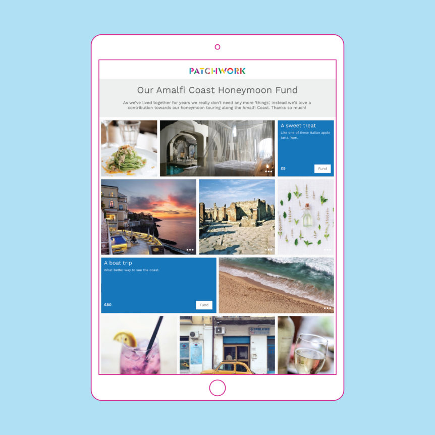 An iPad with images of a Patchwork honeymoon fund to the Amalfi Coast