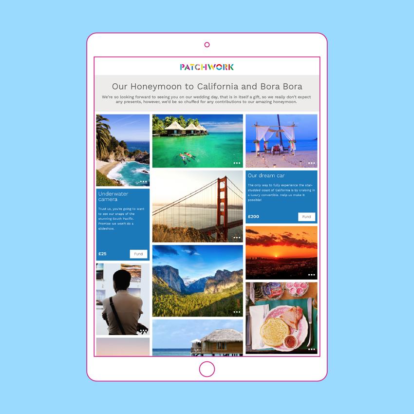 Bora Bora and California Patchwork Honeymoon Fund in iPad