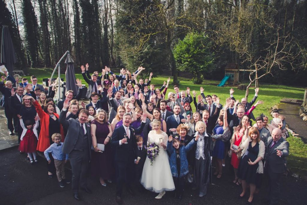 Patchwork Couple Emma & Mark group wedding photo