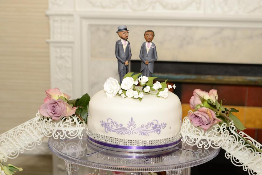 Black Gay Patchwork Couple wedding cake