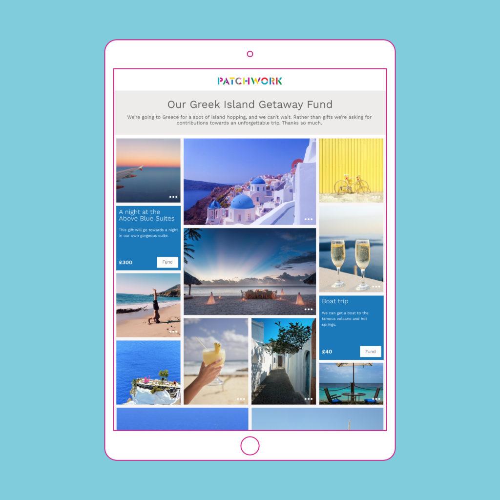 Patchwork honeymoon Fund Greek Islands