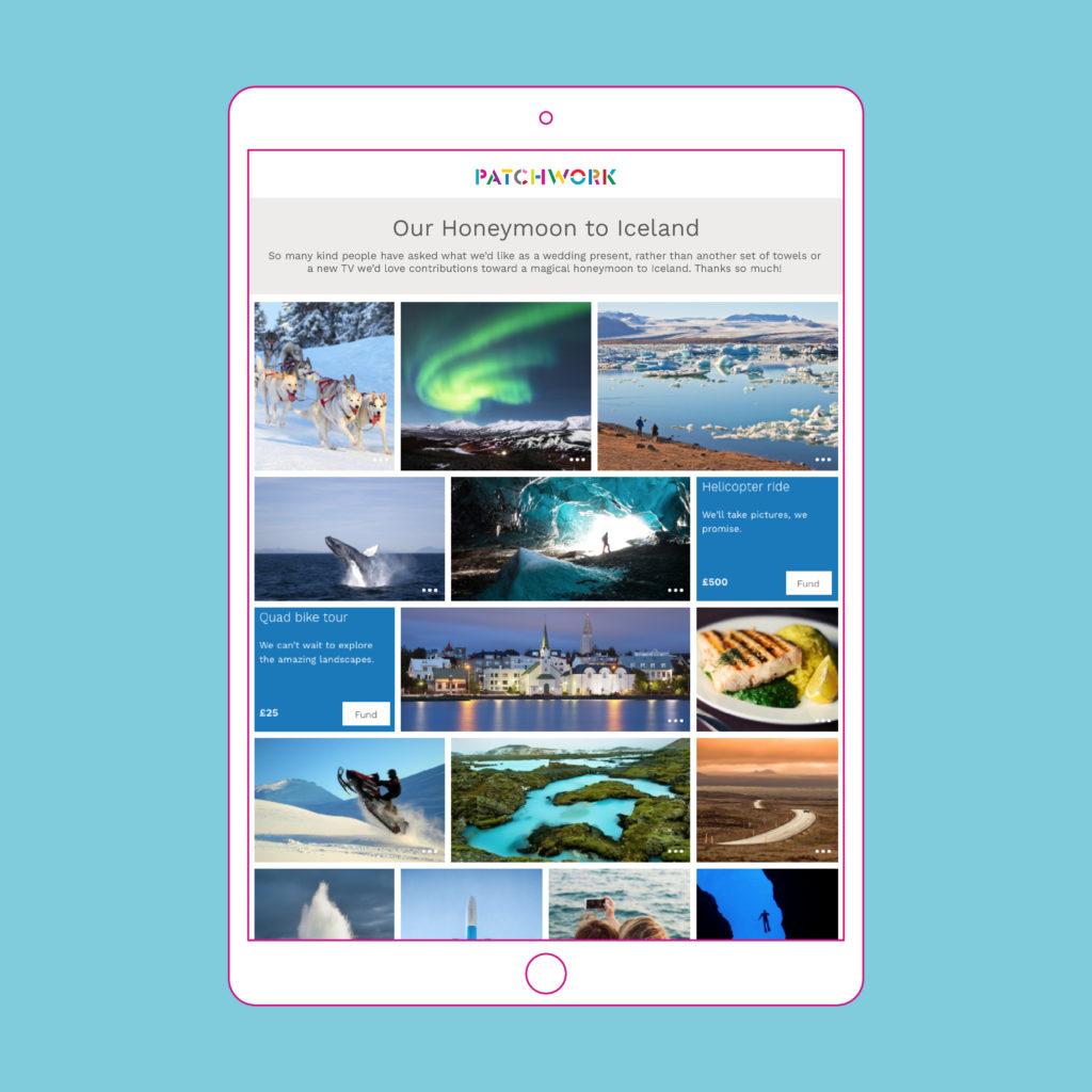 Patchwork honeymoon Fund Iceland