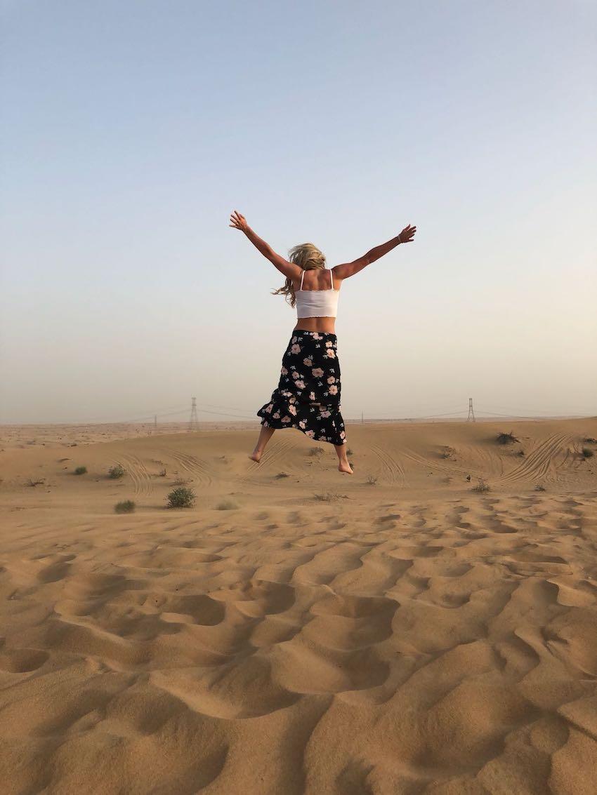 Woman on honeymoon adventure in the desert