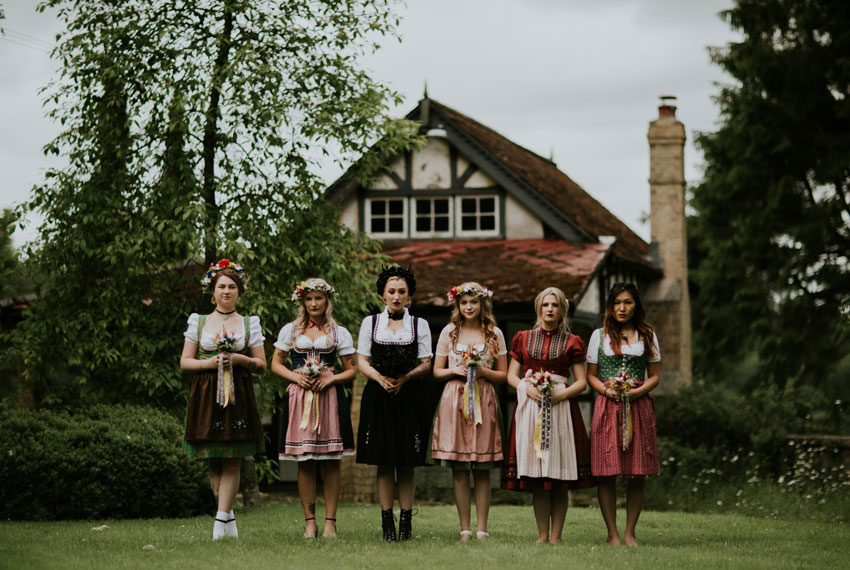 Alternative wedding, Bridesmaids, dirndls