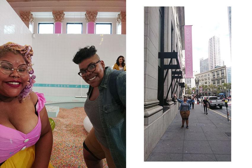 Patchwork Couple Natalie and Daley, Lesbian couple, LGBTQ wedding, Ice cream museum, LA, honeymoon