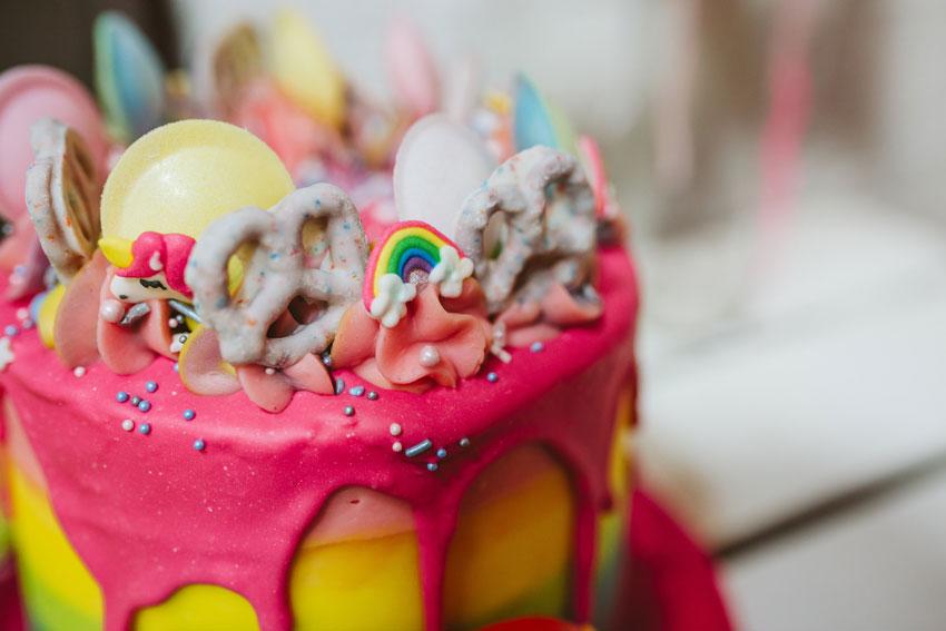 brightly coloured sweet cake