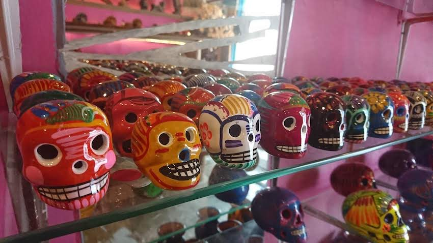 Mexican sugar skulls on a shelf