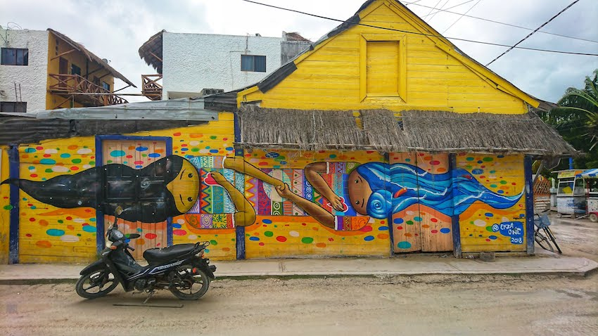 Mexican houses with bright painted street art