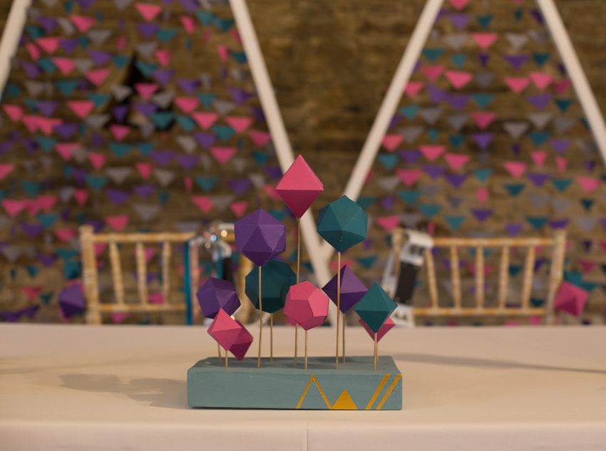 Pink green and purple geometric shape decorations