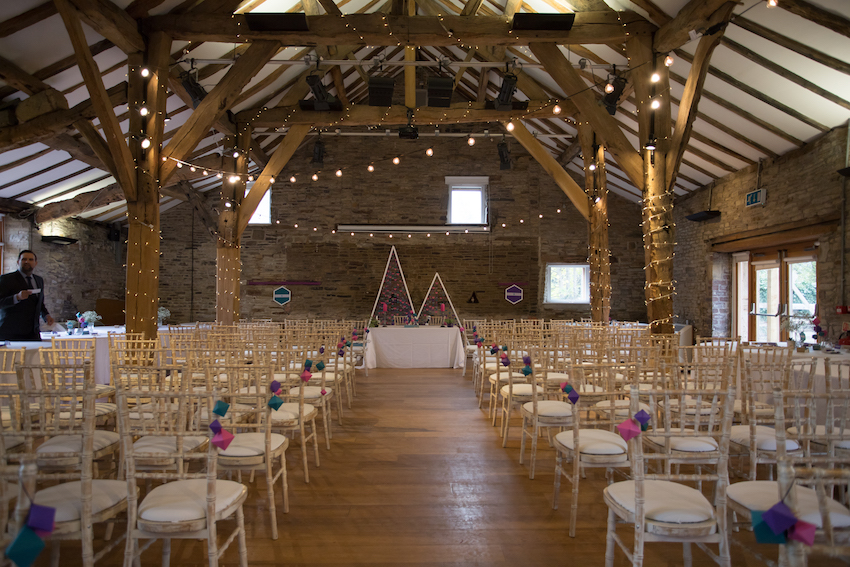 Northorpe Hall Barn with wedding set up