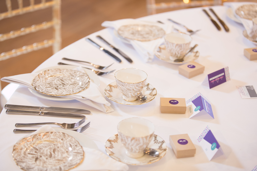 Wedding tables laid with afternoon tea