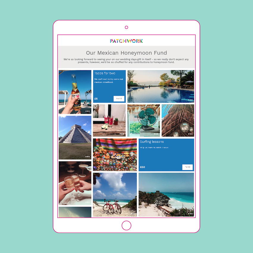 Mexican honeymoon fund template in ipad