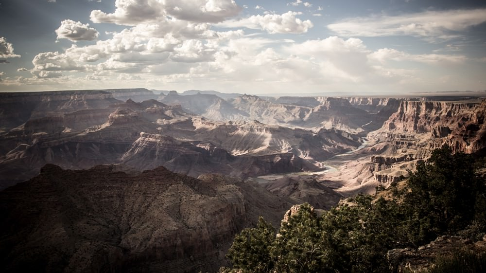View looking down into the Grand Canyon in America