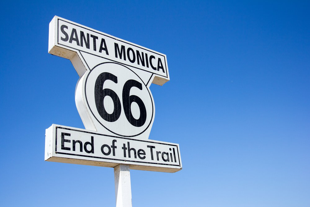 Santa Monica Route 66 road sign