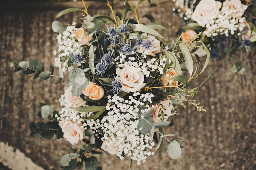 wedding bouquet with blush roses