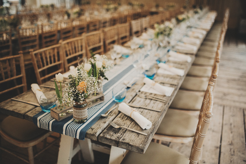 tables at the Gallivant venue set up for wedding reception