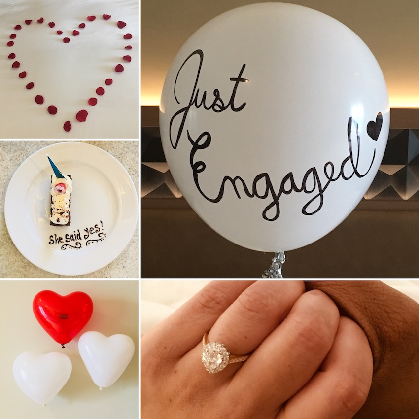 collage of images of engagement celebration