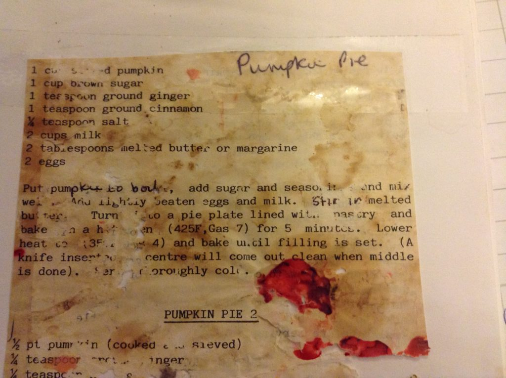 Halloween Recipe for Pumpkin Pie