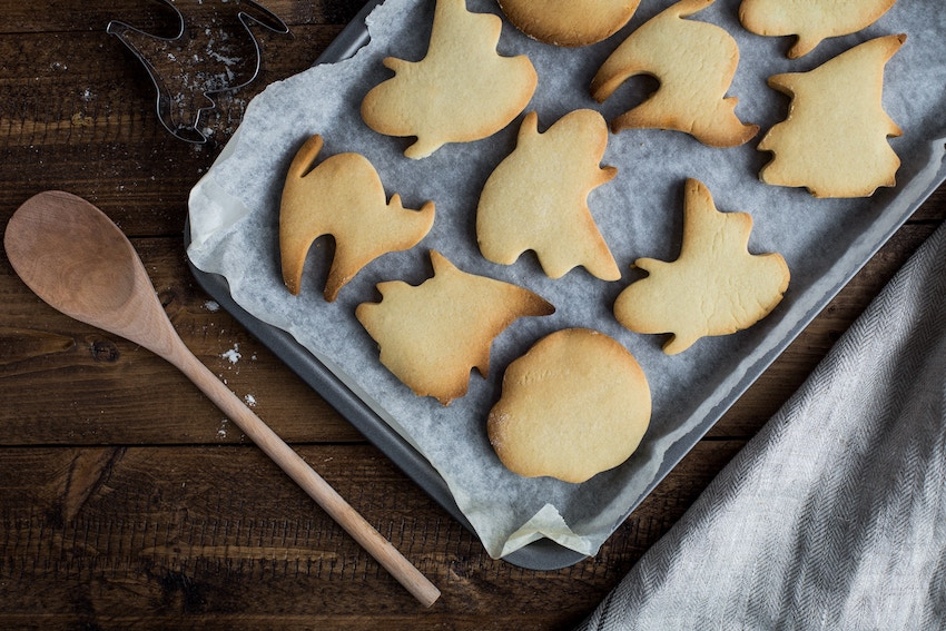 Homemade Halloween biscuits on a baking sheet