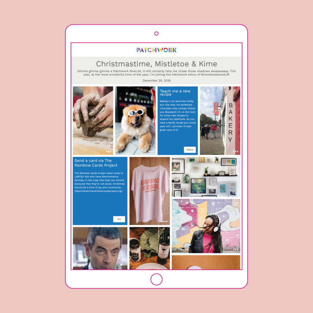 Image of an iPad featuring a Give List patchwork on a pink background
