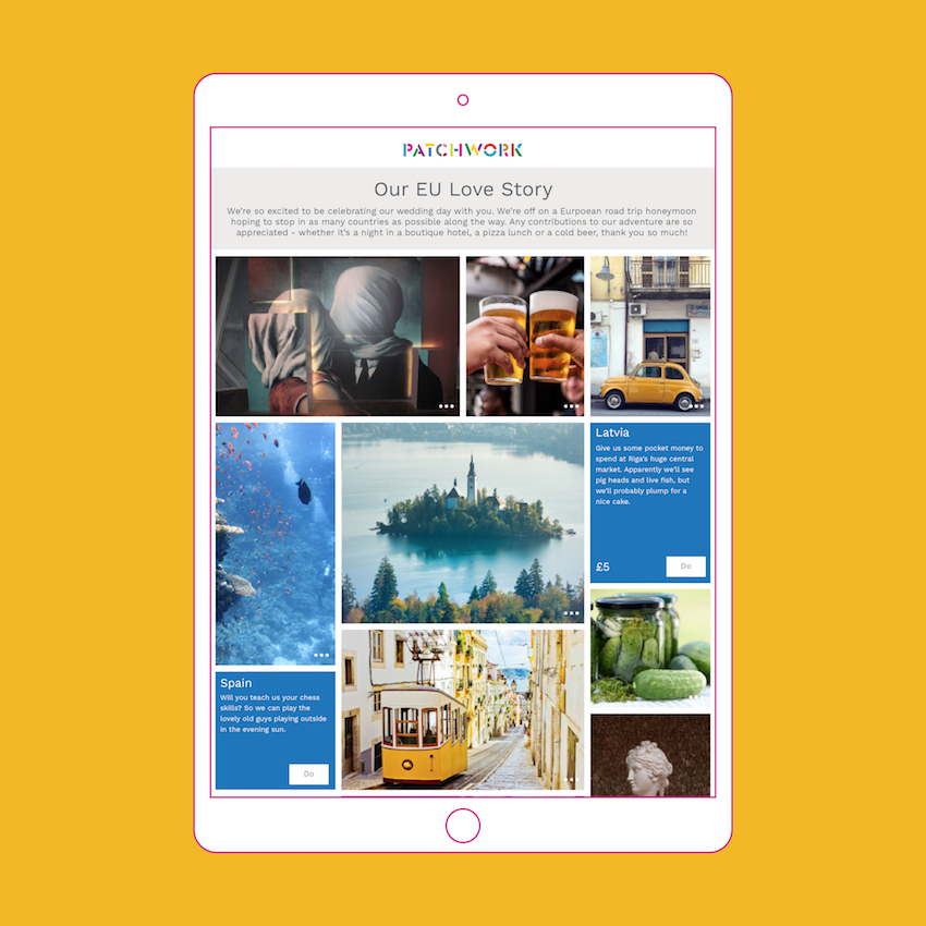 A Patchwork Honeymoon Fund for an EU adventure in iPad