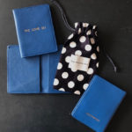 Patchwork personalised We Love EU passport holder in blue leather