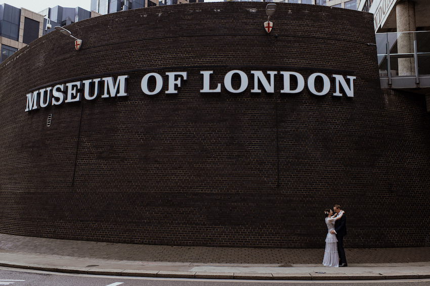 Couple outside Museum of London