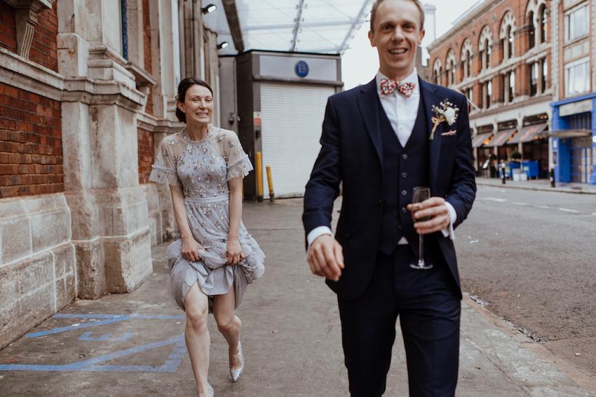 Bride and Groom on London Street