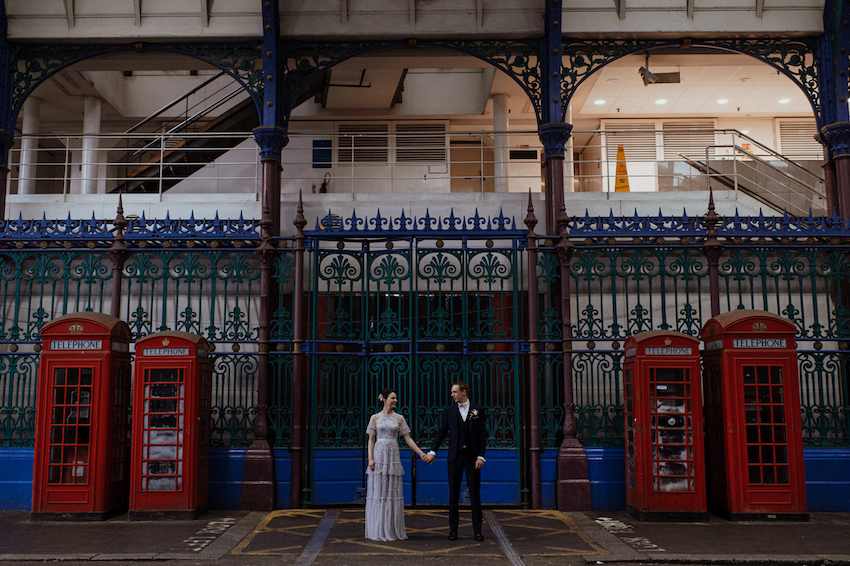 Bride and Groom by London phoneboxes