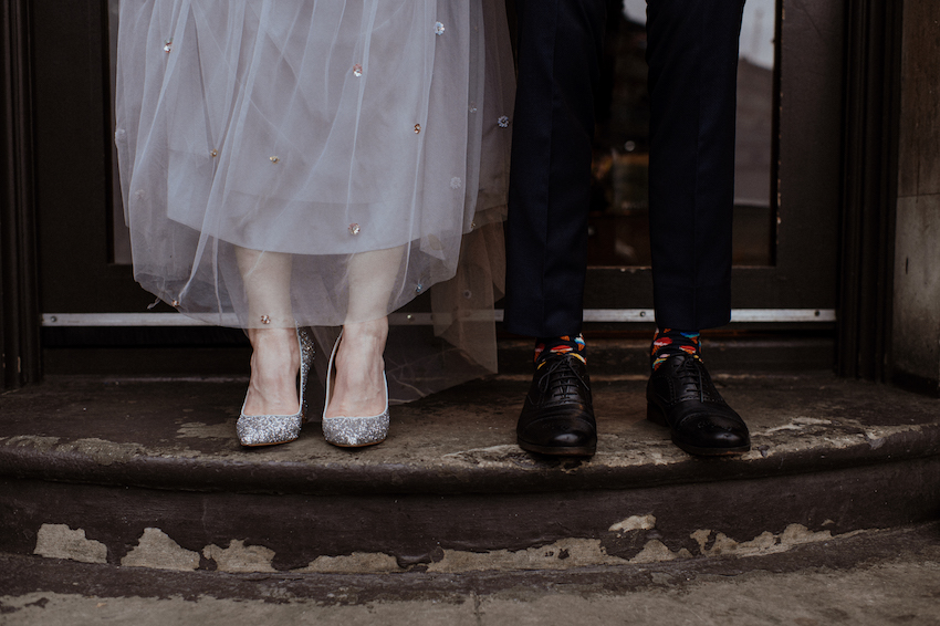Bride and Grooms feet and shoes